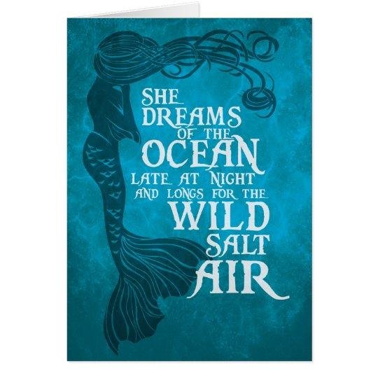 Tarjeta de felicitaciones de la sirena - ella soña