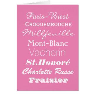 Tarjeta de felicitaciones de Patiserie del francés