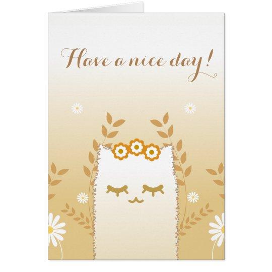 Tarjeta de felicitaciones del gato de la flor #2