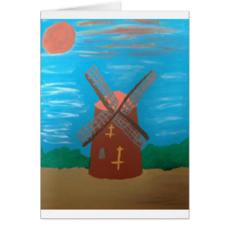 Tarjeta de felicitaciones pintada del molino de