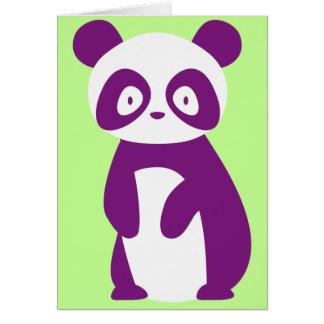 Tarjeta de felicitaciones púrpura de la panda