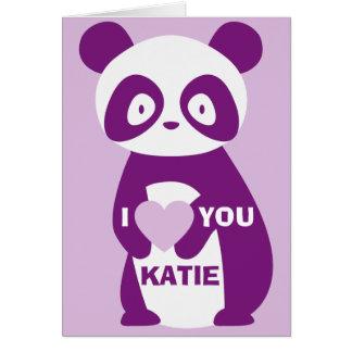Tarjeta de felicitaciones púrpura de la panda te