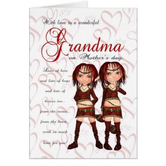 Tarjeta de gemelos - del día de madre de la abuela