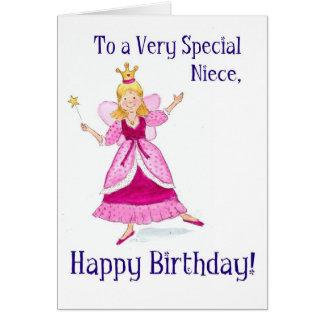 Tarjeta de hadas de la princesa cumpleaños para