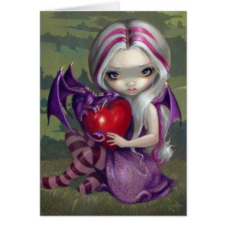 Tarjeta de hadas gótica del dragón de la tarjeta d