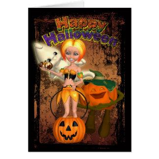Tarjeta de Halloween con el chica, el fantasma y J