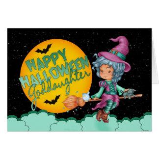 tarjeta de Halloween de la ahijada con la bruja li