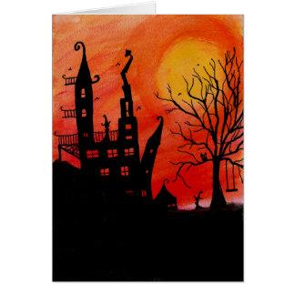 Tarjeta de Halloween de la casa encantada