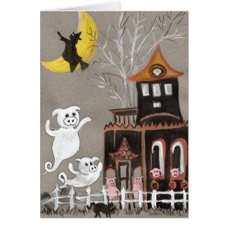 TARJETA de Halloween de la casa encantada de los