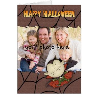 tarjeta de Halloween de la foto con el muchacho