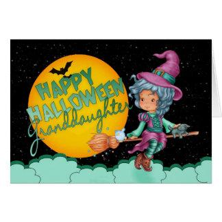 tarjeta de Halloween de la nieta con la bruja lind