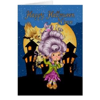 tarjeta de Halloween de la sobrina con la bruja