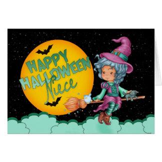 tarjeta de Halloween de la sobrina con la bruja li