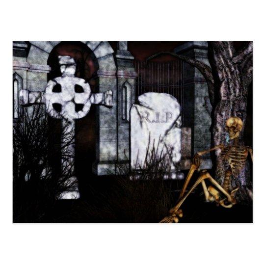 tarjeta de Halloween del cementerio