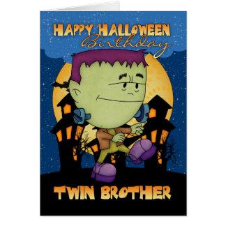 tarjeta de Halloween del cumpleaños del hermano ge