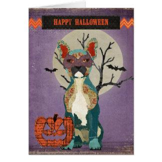 Tarjeta de Halloween del dogo de la mascarada