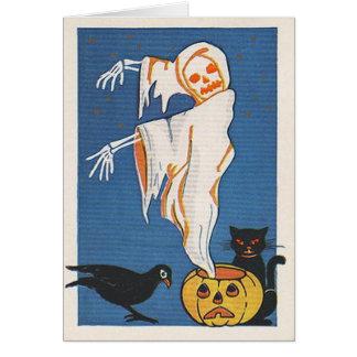 Tarjeta de Halloween del fantasma del vintage
