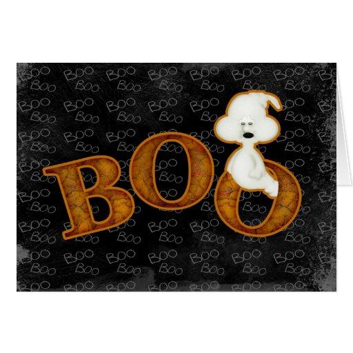 Tarjeta de Halloween del fantasma y del abucheo