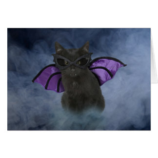 Tarjeta de Halloween del gato del vampiro