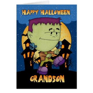 tarjeta de Halloween del nieto con el frankie que