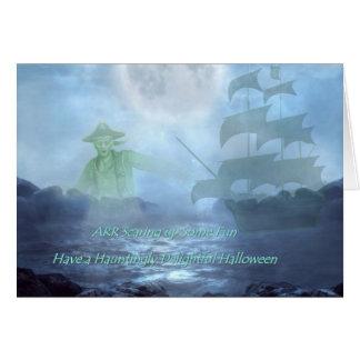 Tarjeta de Halloween del pirata del fantasma