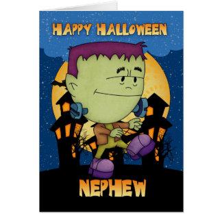 tarjeta de Halloween del sobrino con el frankie qu