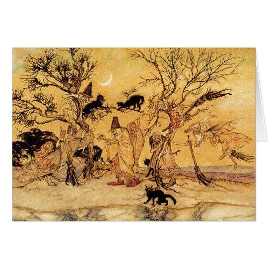 Tarjeta de Halloween: El Sabat de las brujas