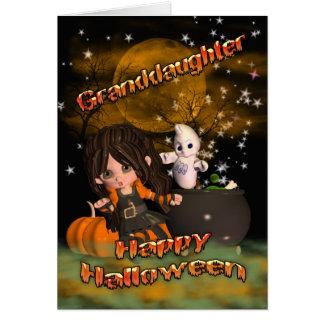 ¿Tarjeta de Halloween para la nieta, el truco o la Tarjeta De Felicitación