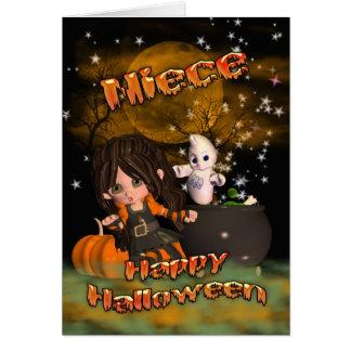 ¿Tarjeta de Halloween para la sobrina, el truco o  Tarjeta De Felicitación
