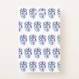 Tarjeta De Identificación Bolso púrpura del regalo del cráneo del azúcar de