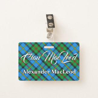 Tarjeta De Identificación Clan MacLeod del tartán de Harris