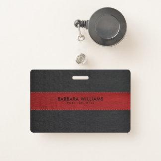 Tarjeta De Identificación Imitación de cuero negra y roja