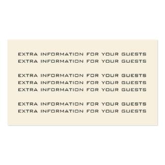 Tarjeta de información antigua del boda del tarjetas de visita