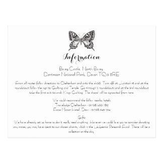 Tarjeta de información clásica del boda de la postal