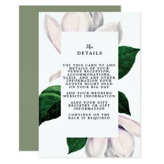 tarjeta de información de detalles del boda de la