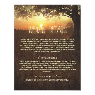 Tarjeta de información del boda del árbol con las invitación 10,8 x 13,9 cm