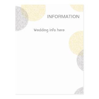 Tarjeta de información del boda del círculo del postal