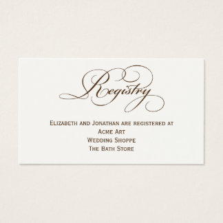 Tarjeta de información del registro del boda de la