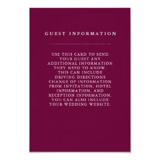 Tarjeta de información elegante de la huésped del