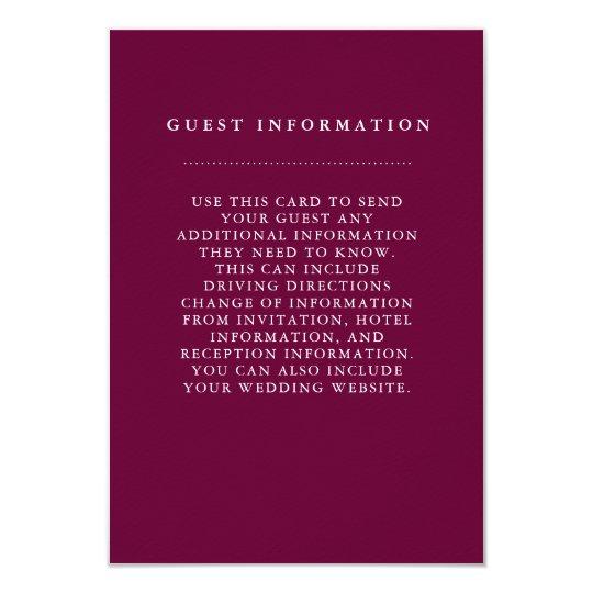 Tarjeta de información elegante de la huésped del invitación 8,9 x 12,7 cm