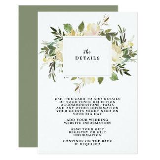 tarjeta de información floral de detalles del boda