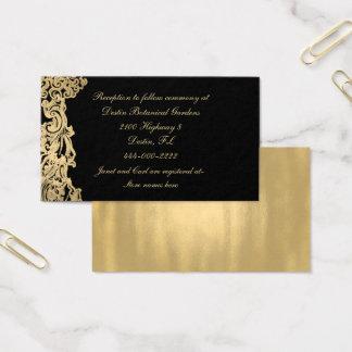 Tarjeta de información formal del boda del negro y