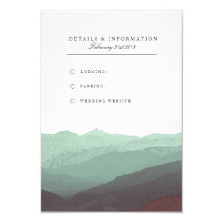 Tarjeta de información moderna de la montaña de la invitación 8,9 x 12,7 cm