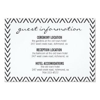 Tarjeta de información negra y blanca del boda de invitación 8,9 x 12,7 cm