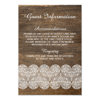 Tarjeta de información rústica de madera y del