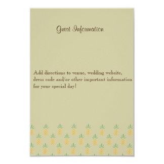 Tarjeta de información tropical bilingüe de la invitación 8,9 x 12,7 cm