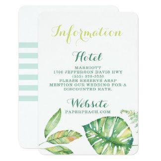 Tarjeta de información tropical del boda de playa