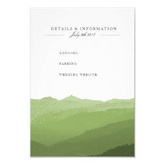 Tarjeta de información verde de la montaña de la invitación 8,9 x 12,7 cm