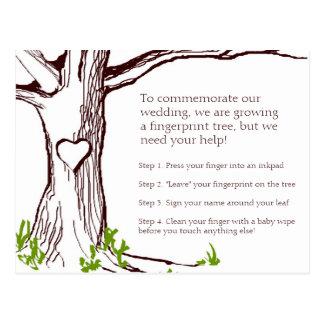 Tarjeta de instrucciones del árbol de la huella