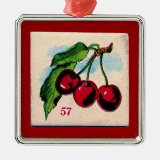 Tarjeta de juego de las cerezas del vintage ornaments para arbol de navidad